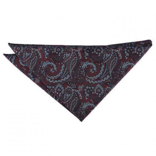 Burgundy & Navy Royal Paisley Handkerchief / Pocket Square