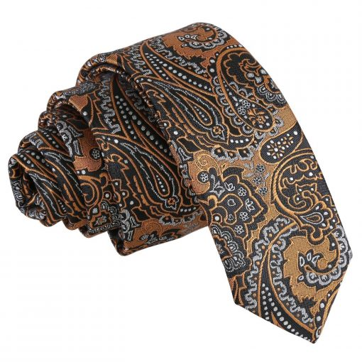 Gold & Silver Royal Paisley Skinny Tie