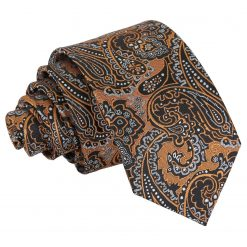 Gold & Silver Royal Paisley Slim Tie