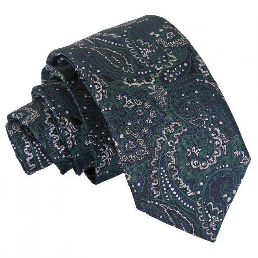 Green & Navy Royal Paisley Slim Tie