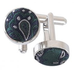 Green & Navy Royal Paisley Cufflinks