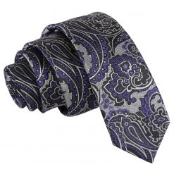 Silver & Purple Royal Paisley Skinny Tie