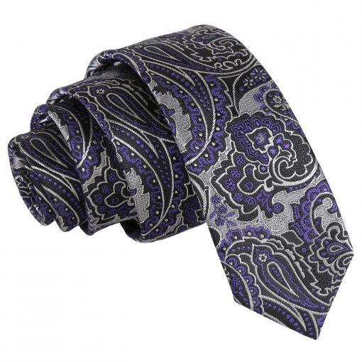 Silver & Purple Royal Paisley Skinny Tie