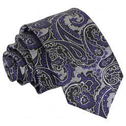 Silver & Purple Royal Paisley Slim Tie