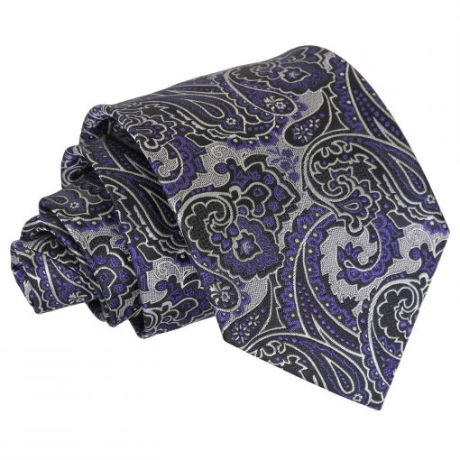 Silver & Purple Royal Paisley Classic Tie
