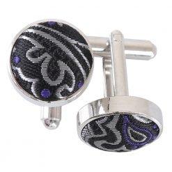 Silver & Purple Royal Paisley Cufflinks