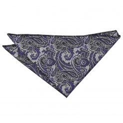 Silver & Purple Royal Paisley Pocket Square