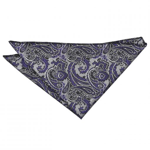 Silver & Purple Royal Paisley Handkerchief / Pocket Square
