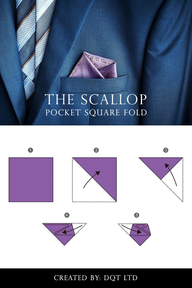 How To Fold a Scallop Pocket Square width=