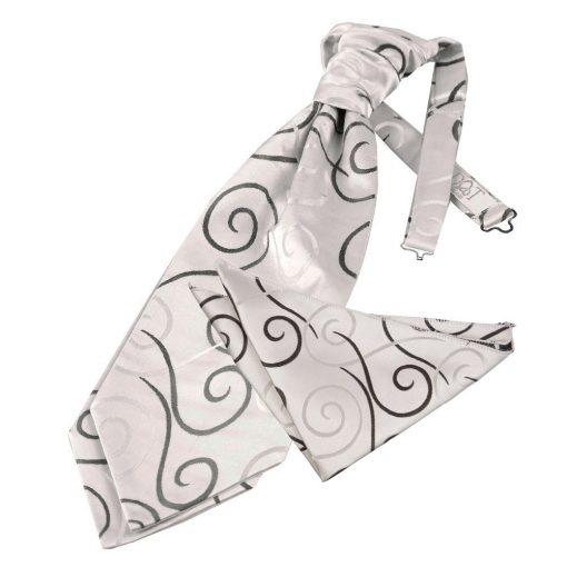 Black Scroll Wedding Cravat & Pocket Square Set