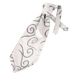 Black Scroll Pre-Tied Wedding Cravat