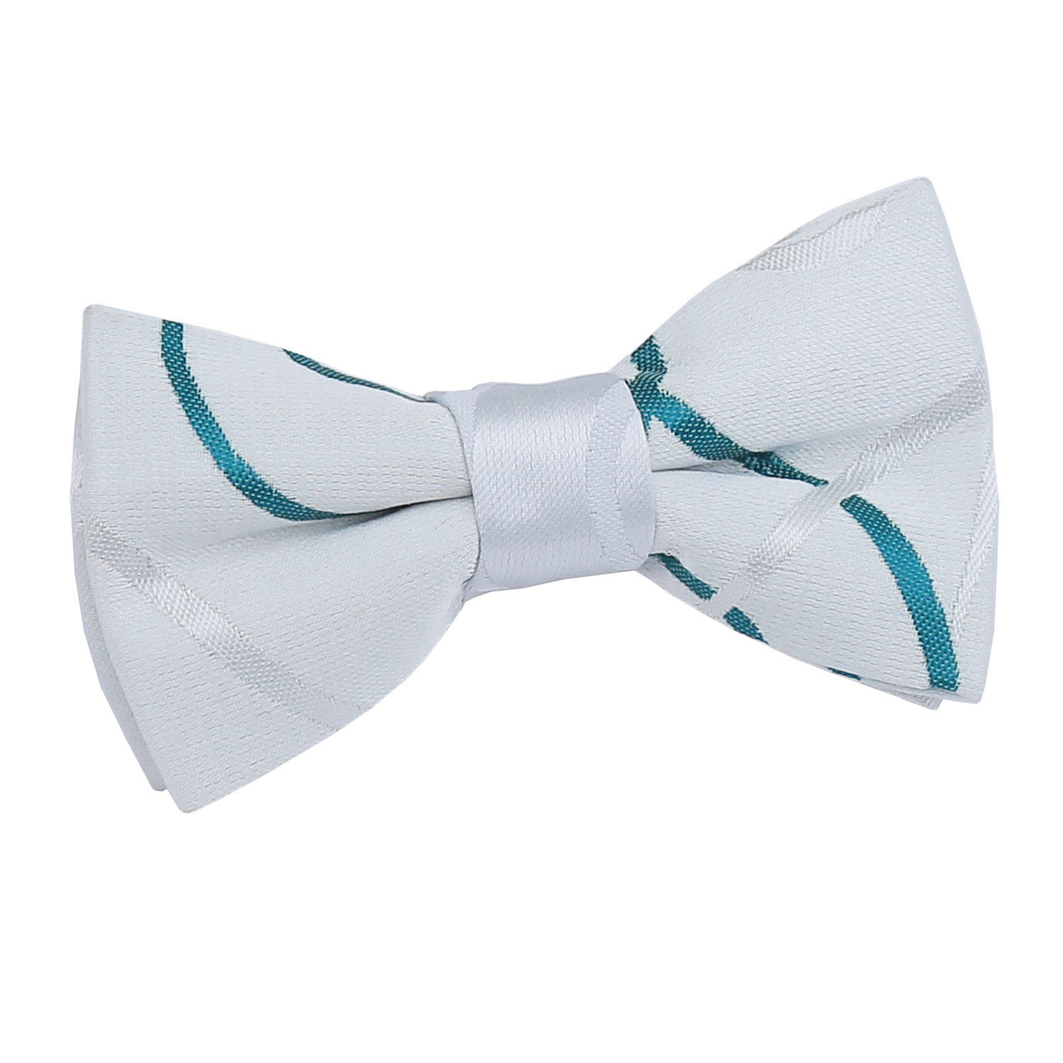 Boys Scroll White & Teal Bow Tie