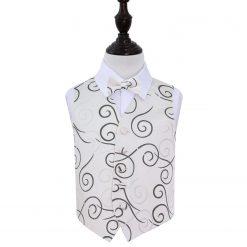 Black Scroll Wedding Waistcoat & Bow Tie Set for Boys
