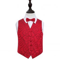 Burgundy Scroll Wedding Waistcoat & Bow Tie Set for Boys