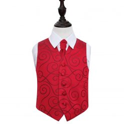 Burgundy Scroll Wedding Waistcoat & Cravat Set for Boys
