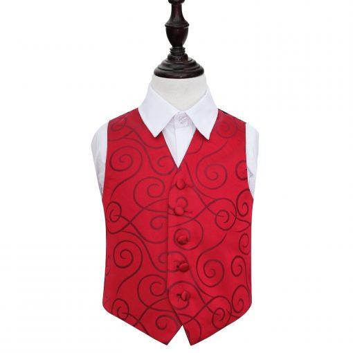 Burgundy Scroll Wedding Waistcoat for Boys