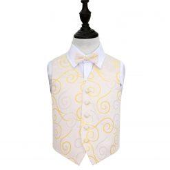 Gold Scroll Wedding Waistcoat & Bow Tie Set for Boys