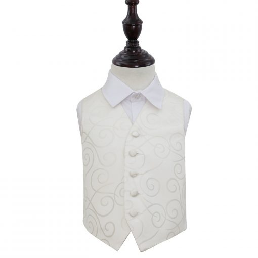 Ivory Scroll Wedding Waistcoat for Boys