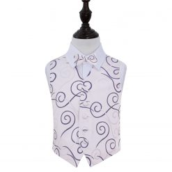 Purple Scroll Wedding Waistcoat & Bow Tie Set for Boys