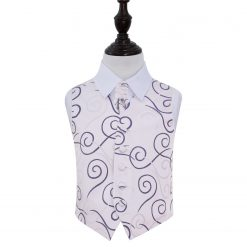 Purple Scroll Wedding Waistcoat & Cravat Set for Boys