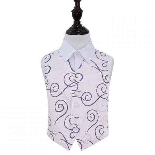 Purple Scroll Wedding Waistcoat for Boys