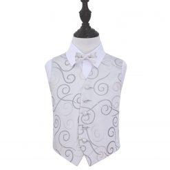 Silver Scroll Wedding Waistcoat & Bow Tie Set for Boys