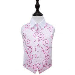 White & Hot Pink Scroll Wedding Waistcoat & Cravat Set for Boys