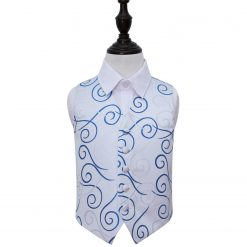 Silver & Royal Blue Scroll Wedding Waistcoat for Boys