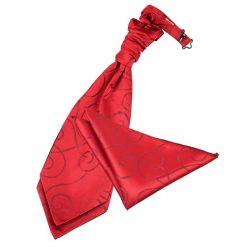 Burgundy Scroll Wedding Cravat & Pocket Square Set