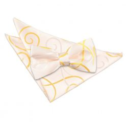 Black Scroll Bow Tie & Pocket Square Set