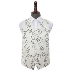 Black Scroll Wedding Waistcoat