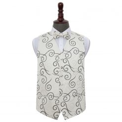 Black Scroll Wedding Waistcoat & Bow Tie Set