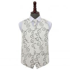 Black Scroll Wedding Waistcoat & Cravat Set