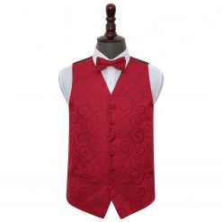 Burgundy Scroll Wedding Waistcoat & Bow Tie Set