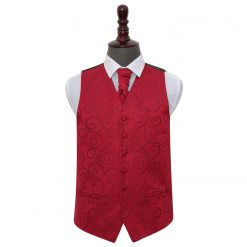 Burgundy Scroll Wedding Waistcoat & Cravat Set