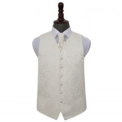 Ivory Scroll Wedding Waistcoat & Cravat Set