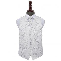 Silver Scroll Wedding Waistcoat & Cravat Set