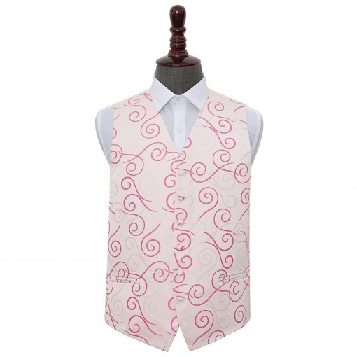 Ivory & Hot Pink Scroll Wedding Waistcoat