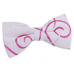Ivory & Hot Pink Scroll Pre-Tied Bow Tie