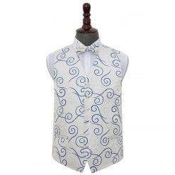 Silver & Royal Blue Scroll Wedding Waistcoat & Bow Tie Set