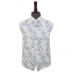 Silver & Royal Blue Scroll Wedding Waistcoat & Cravat Set