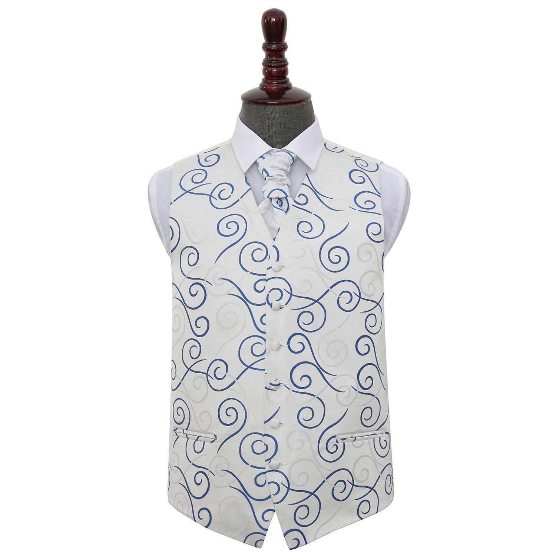 eaad5b87b809 Men's Scroll Silver & Royal Blue Wedding Waistcoat & Cravat Set