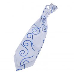 Silver & Royal Blue Scroll Pre-Tied Wedding Cravat