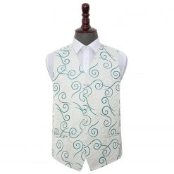 Silver & Teal Scroll Wedding Waistcoat