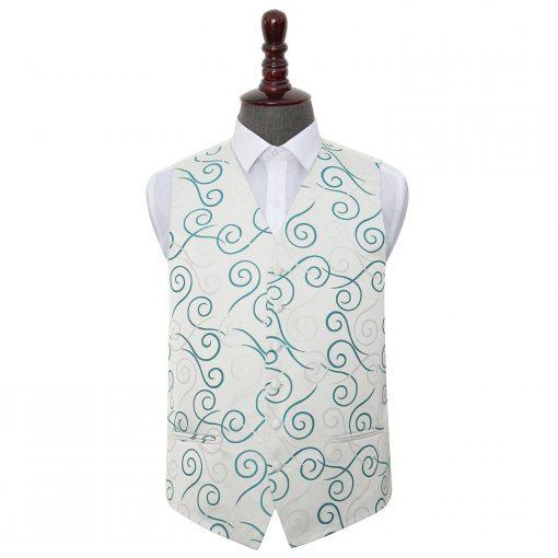 Silver & Teal Scroll Wedding Waistcoat