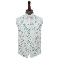 Silver & Teal Scroll Wedding Waistcoat & Bow Tie Set