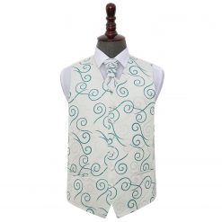 Silver & Teal Scroll Wedding Waistcoat & Cravat Set