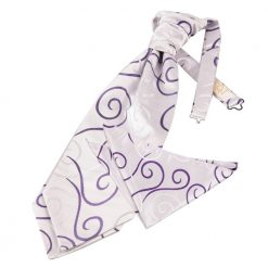 Purple Scroll Wedding Cravat & Pocket Square Set