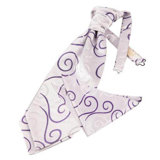 Purple Scroll Wedding Cravat & Pocket Square Set