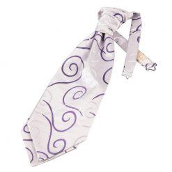 Purple Scroll Pre-Tied Wedding Cravat
